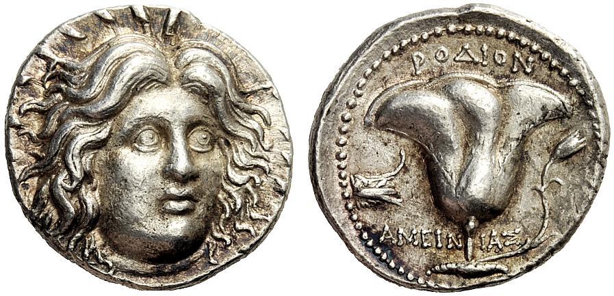 5. Ασημένιο αρχαιοελληνικό ροδιακό τετράδραχμο.